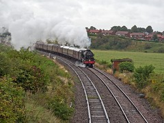 """LMS Royal Scot Class 7P 4-6-0 No 46115 Scots Guardsman in charge of """"The Cumbrian Mountain Express"""" leaving Carlisle on the return leg on Carlisle to Whitehaven line (penlea1954) Tags: uk steam railways england lms royal scot class 7p 460 no 46115 scots guardsman the cumbrian mountain express carlisle whitehaven line cummersdale blackwell"""