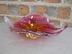 Chribska Pink & Amber Czech Art Glass Bowl DEsigned By Josef Hospodka Mid Century Modern (beetle2001cybergreen) Tags: chribska pink amber czech art glass bowl designed by josef hospodka mid century modern