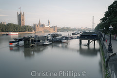 Hazy morning in London. (Christine's Observations) Tags: london houses parliament guy fox soft gentle hazy misty foggy morning quiet calm peaceful beautiful christine phillips eye westminster lambeth river boats sailing sleeping