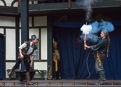 2014 Renaissance Festival (Maryland) (Calusarul) Tags: maryland renaissance festival flintlock matchlock gun black powder stage whip medieval demo demonstration fire smoke muzzle loader summer outdoors outside day open air costume shakespeare september 6 2014