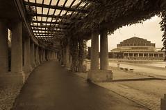 Pergola and the Centennial Hall in sepia (Grzesiek.) Tags: sepia odl breslau halastulecia halaludowa centennialhall pergola