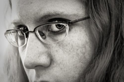 woman girl face look glasses blackwhite jhayne