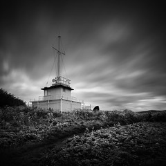 Outpost (Andy Brown (mrbuk1)) Tags: longexposure sky cloud building overgrown grass square landscape mono blackwhite weeds track path somerset vegetation filters bushes broom scientific undergrowth watchet neutraldensity iamnotatwitcher