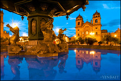 Cusco - Iglesia la Compaia de Jesus in Plaza de Armas (Yen Baet) Tags: old city travel panorama mountain peru church southamerica nature inca cuzco architecture photography photo twilight ancient ruins europe european estate view cathedral postcard cusco scenic icon tourists structure per unesco worldheritagesite empire andes vista bluehour machupicchu picturesque iconic sacredvalley precolumbian urubamba peruvian huaynapicchu spectacle quechua archaeologicalsite qosqo hirambingham qusqu newsevenwondersoftheworld pachacuti iglesialacompaniadejesus churchofthesocietyofjesus per yenbaet
