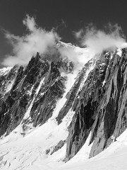 Alps mountains (Valle Blanche, Mont-Blanc massif) (Olivier Carrre) Tags: blackandwhite bw mountain snow france alps nature clouds landscape europe valleblanche montblancmassif