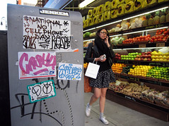 National No Cellphone Day (carnagenyc) Tags: nyc newyork graffiti sticker atm 907 sadue kosby cash4