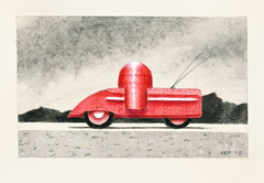 Atomic Road Drone, 2012 (steveartist) Tags: art pencil drawings 2012 whimsicalart watercolorpencil smallworks stevefrenkel imaginaryvehicles picmonkey roaddrones artgrafwatersolublegraphite