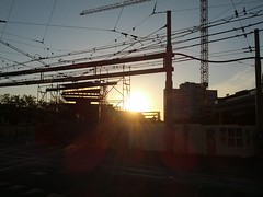 Kalkbreite (Michael Scherer) Tags: sunset constructionarea crane zurich wires kalkbreite flickrandroidapp:filter=none