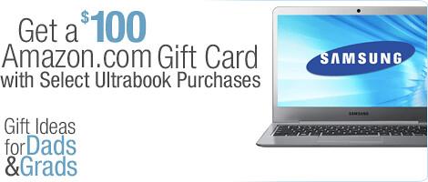 美国亚马逊:Ultrabook超极本$100礼品卡特价促销活动