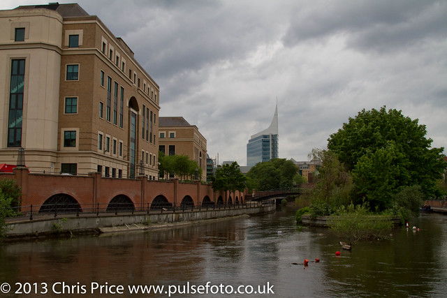 Prudential Building and Blade from the Kennet, Reading