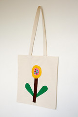 Sunflower Tote Bag (pannikin_pannikin) Tags: bag handmade sewing library craft felt kinder cotton calico colourful bookbag applique tote pompoms childlike pannikin