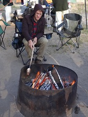 henry cooking a biscuit (maureenld) Tags: camping friends food fun 40th bash may db campfire biscuit henry stick annual pinnacles 2012 pinnaclesnationalmonument bethereorbesquare desertbash btobs