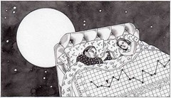 Crises (eschongut) Tags: blackandwhite woman moon chart art illustration night magazine design bed mam crisis newyorkmagazine emanuelschongut