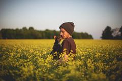 (andielinn) Tags: flowers boy sky dog nature field yellow canon 50mm lightroom 5dmarkii