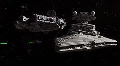 """We can still outmanoeuvre them."" (Blockaderunner) Tags: star back lego space tie millennium destroyer empire falcon wars fighters strikes avenger ucs 7778 10030 lifelites"