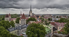 View from the Toompea hill in Tallinn (Tusken91) Tags: old city light church rain fog wall clouds de town high europe tallinn estonia day dynamic cloudy euro hill bad baltic medieval range hdr baltics kk 2012 kyrka estland ringmur gammal toompea kik baltikum olivai medeltida