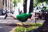 about how cool and easy taking photos is in my imagination (laura zalenga) Tags: street camera woman green nature girl dress levitation europeanflickrchallenge ©laurazalenga