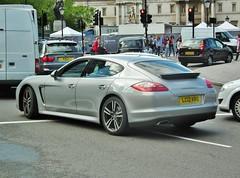 Porsche Panamera (kenjonbro) Tags: uk london westminster silver rear trafalgarsquare porsche charingcross 2012 sw1 panamera kenjonbro fujihs10 lc12kro
