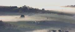 Backlog (snowyturner) Tags: morning trees panorama mist france sunrise landscape brittany farm fields finistere menezhom