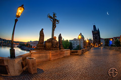 Charles bridge (A.G. Photographe) Tags: morning bridge fish sunrise nikon raw republic czech prague charles praha fisheye ag fx 16mm hdr matin anto d800 tchèque xiii levédesoleil charlesiv photomatix antoxiii hdr5raw agphotographe oeilpoisson