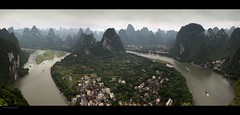 The river Lijiang: view over Xingping. (jero 053 (J.Fransen)) Tags: panorama canon indonesia haze guilin pano surreal canon5d hq process cinematic jero guanxi 053 jeroenfransen