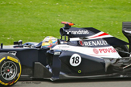 Pastor Maldonado in his Williams at the 2012 British Grand Prix at Silverstone