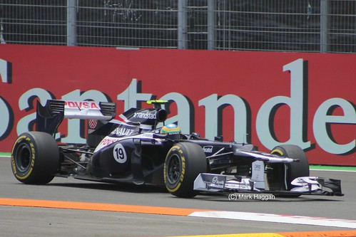 Bruno Senna in his Williams F1 car at the 2012 European Grand Prix in Valencia