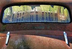 Dew This (rickhanger) Tags: abandoned window rust rusty chrome dew backwindow abandonedcar