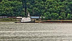 Sail to Rail (thetrick113) Tags: train boat vessel tugboat hudsonriver barge hdr csx hudsonvalley aggregate csxtrain captainzeke aggregatebarge slta65v captainzeketugboat