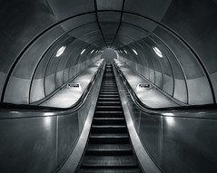 elevation (vulture labs) Tags: city uk blue light england urban bw building london art station architecture underground subway photography photo nikon angle metro jubilee escalator tube wide tunnel line elevation lightroom london2012 1424mm vulturelabs