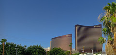 wynn / encore (pbo31) Tags: morning blue summer sky panorama brown color architecture canon hotel lasvegas contemporary nevada towers large july panoramic casino structure palm thestrip wynn stitched encore 2012 southlasvegasboulevard