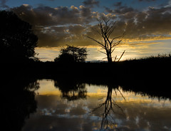 Sunset Reflections (Philip R Jones) Tags: sunset shadow cloud sun water silhouette contrast reflections river canal cheshire riverside bluesky flare markettown hdr narrowboat canalboat nationalgeographic middlewich 3xp greatphotographers uksummer d7000 daarklands nikond7000 exoticimage mygearandme
