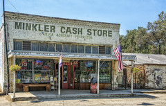 MINKLER CASH STORE (akahawkeyefan) Tags: minkler cash store davemeyer bench signs old fashioned