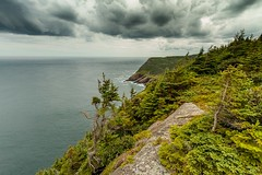East Coast (Karen_Chappell) Tags: cobblerpath eastcoast eastcoasttrail newfoundland nfld outercove canada landscape scenery scenic seascape clouds sky trees green blue ocean atlantic atlanticcanada hills coastline coast sea canonefs1022mm wideangle avalonpeninsula