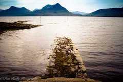 Jetty at Inveralligin. (broadswordcallingdannyboy) Tags: scotland northwesthighlands holiday eos7d highlands torridon lightroom4 canonlens light dusk evening magichour water loch landscape dramaticsky scottishsummer scottishscenes scottishscenery copyrightleonreillyphotography canon mood atmosphere dreamscape moody leonreilly inveralligin jetty lochtorridon 7d 1740mm canonllens ef1740mmf4lusm