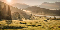Morning Light in Bavaria (Andreas Krappweis - thanks for 2,2 million views!) Tags: sunrise summer bavaria landscape mountains lake geroldsee wagenbruchsee hut barn fog mist sunbeams meadow grass trees alpine august dawn
