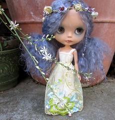 Flower Child (SJB Dolls) Tags: zaloa blue custom mohair blythe doll flower garden