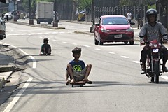 daredevils (DOLCEVITALUX) Tags: daredevil daredevils skateboard homemadeskateboard resourceful kids children boys fun risk risky outdoor road manila philippines photojournalism