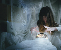 a heart's content (Devined) Tags: light portrait sky art girl face up wall self ball dark hair hearts rising scary bed hands heaven hand dress darkness heart lace magic content glowing slouds