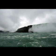 Niagara Falls between American and Horseshoe Falls ... (mariola aga) Tags: trip mist fall water rain river square niagarafalls boat waterfall ride wideangle bridalveilfalls horseshoefalls americanfalls rainyweather thegalaxy americanside