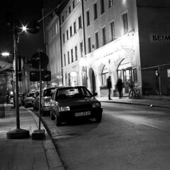 Munich (Peter Gutierrez) Tags: street urban bw white black film public night germany munich square bayern bavaria evening noche photo europe european nocturnal nacht pavement sidewalk peter german gutierrez munchen schwartz weiss nuit nocturne notte bavarian schwarzes weis petergutierrez