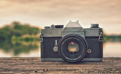 Vintage (Vemsteroo) Tags: camera old sunset lake reflection film nature 35mm canon vintage lens 50mm technology sundown tx reservoir 5d hdr warwickshire mkiii earlswood 24105mm 7exposure