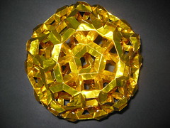 Golden Dodekexcavated Great Rhombicosidodecahedron (ServeSmasher) Tags: origami modular cupola inverted icosahedron dodecahedron polyhedron polyhedra truncated modularorigami pentagonal icosidodecahedron cupolae