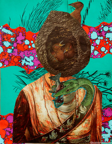 LARRY CARLSON, The Birds That Hide From Man, collage on paper, 16x12in., 2012.