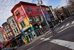 Philadelphia Streets (Eleven ~ NYC~ Teresa) Tags: street pink light red sky white streets building guy philadelphia beautiful up bike yellow canon walking lens photography mural colorful angle candid wide photographs 1022mm canon1022mm elevens elevenphotography