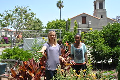 Amy Smart checking out the beautiful garden