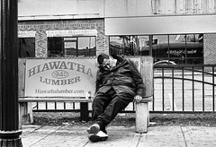 Hiawatha Lumber (The Braindead) Tags: street bw white man black bus art minnesota train bench photography graffiti beans interesting flickr painted homeless tracks minneapolis twin rail bum explore most lazy beyond lumber hiawatha the braindead cites flickrs thebraindead