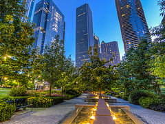 Saturday In The Park (clarsonx) Tags: park chicago fountain illinois aqua bluehour aon hdr aoncenter thebluehour chicagoist 3xp photomatix tonemapped lakeshoreeast aquatower lakeshoreeastpark