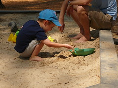 Nico in the sandbox at the zoo