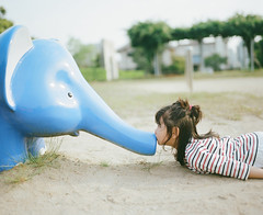 Kiss Me Please Project #3 (Toyokazu) Tags: park family portrait elephant girl animal kids kiss child photogenic pentax67